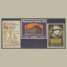 3 Art Nouveau Vignettes related to Exhibitions. 1913-14
