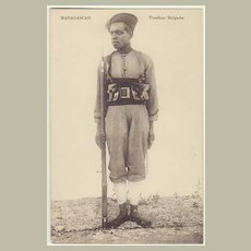 Madagascar: Vintage Postcard of Soldier. App. 1910
