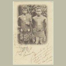Zulu Young Men. Vintage Postcard 1903 per SS Briton