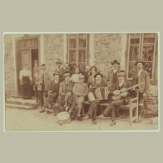 Music Ensemble from Countryside. Vintage photo app. 1910