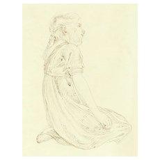 Art Nouveau Drawing. Girl, kneeing.