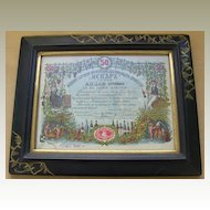 Decorative Stock Certificate related to Wine. Art Nouveau Frame. 1911