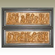 Fine Wooden Panel. Children Scenes. 18. – 19th Century.