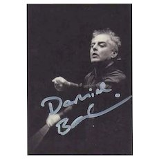 Daniel Barenboim Autograph. Hand signed Portrait Card. CoA