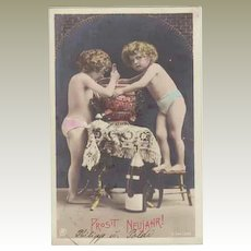 Photo New Years Postcard. Girls and Punch. 1906