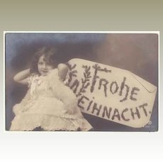 Merry Xmas: Photo Postcard little Girl as Angel. 1906
