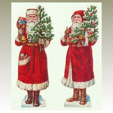 2 Santas Embossed Die Cuts from ca. 1910