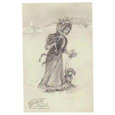 Art Nouveau Postcard. Lady with Dachshund. New Year 1914