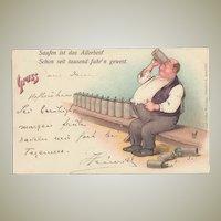 Greetings from Hofbraeuhaus. German Beer Advertising Postcard 1898 by Zieher