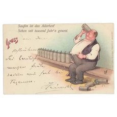 Greetings from Hofbraeuhaus. German Beer Advertising Postcard 1898 by Zieher