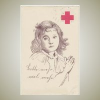 Red Cross Postcard as New Year's Greetings. Artist signed 1914