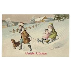 Xmas Postcard with Kids, Dachshund and Doll. 1908