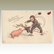 Vintage Postcard. Happy New Year. Chimney Sweeper and Piglet.