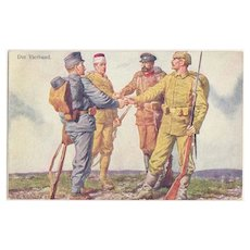 W.W.I.: The League of Four. Artist signed Postcard. Red Cross Issue.