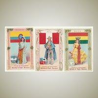 Three Art Nouveau Chocolate Trading Cards. Ca. 1910