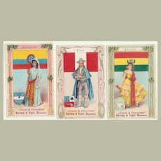 Three Art Nouveau Chocolate Trading Cards. Ca. 1910