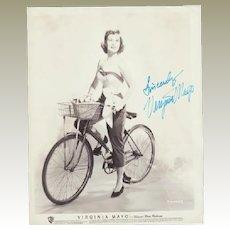 Virginia Mayo Autograph on large Photo. CoA
