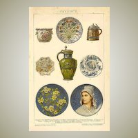 Faience Ware: Antique Chromo Lithograph, 1900