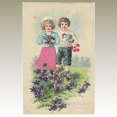 Decorative Darling Postcard, embossed, lithographed. 1909