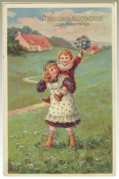 Vintage name day greeting card kids with flowers 1912 collect at vintage name day greeting card kids with flowers 1912 m4hsunfo