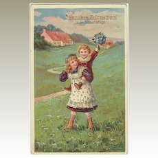 Vintage Name Day Greeting Card. Kids with Flowers. 1912