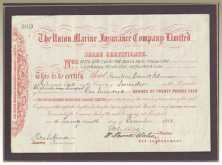 The Union Marine Insurance Co. Ltd. Antique Stock Certificate.1881 ...