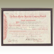 The Union Marine Insurance Co. Ltd. Antique Stock Certificate.1881