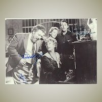 Sir Peter Ustinov, Robert Mitchum and Deborah Kerr. 3 Autographs on 1 Photo. CoA
