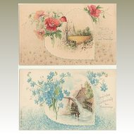 2 Art Nouveau Name Day Postcards. Embossed, unused