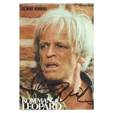 Klaus Kinski Autograph: Hand-signed Portrait-card. CoA.