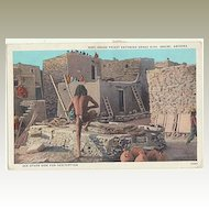 Hopi Snake Priest. Vintage Postcard Indian. Sent to Austria