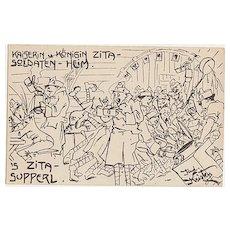 W.W.I.: Empress Zita Soldiers Home. Field-Postcard