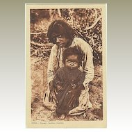 Old India: Lady and her Baby Child. Vintage Postcard. 1920s