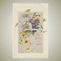 Vintage Easter Postcard, embossed. Flowers and Cross.