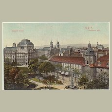 The Synagogue in Plzen. Vintage Postcard 1910.