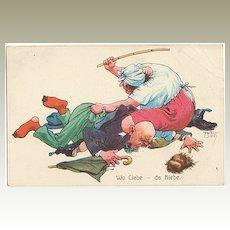 Funny vintage Postcard: Wife beating Husband.