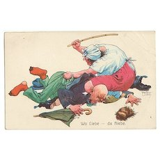 Funny vintage Postcard: Wife beating Husband.