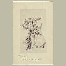 Dachshund on old Xmas Postcard. Lovely image. App. 1910