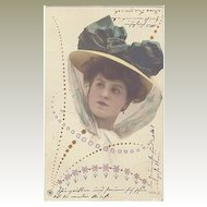 Art Nouveau Postcard: Lady with fancy Hat. Very decorative