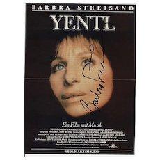 Barbara Streisand Autograph: Hand Signed Yentl Ad. CoA