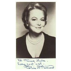 Olivia de Havilland Autograph. Signed Photo + Extra