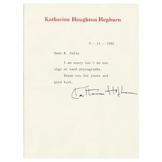 Katharine Hepburn Autograph. Signed Letter from 1984