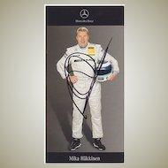 Mika Häkkinen Autograph. Folmula 1 Driver hand-signed Card. CoA