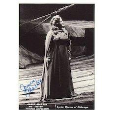 Soprano Janis Martin Autograph. Martins as Isolde Photo.