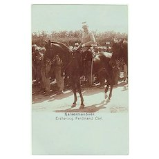 Austrian Arch Duke Ferdinand Karl on horse-back. Authentic Photo