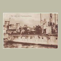 WWI: German Torpedo Cruiser. Photo-Postcard. Crew loading Canon