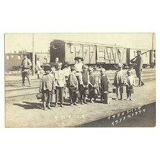 Russian Kids at Japanese Railway Station. Vintage Photo app. 1905
