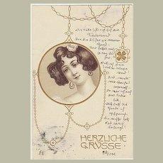 Art Nouveau Postcard from 19001. Very Decorative.