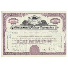 Paramount Pictures. Stock Certificate from 1957. Decorative Share