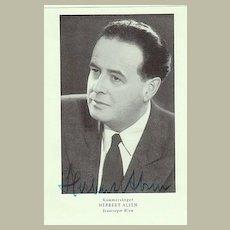 Herbert Alsen Autograph. German Opera Star. CoA